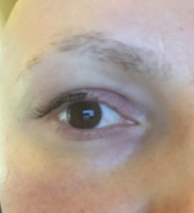 A half strip of lashes